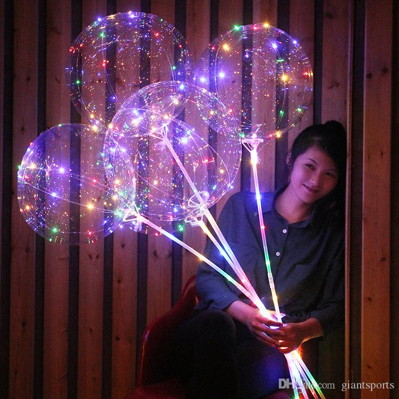 Colorful Light Balloons with Stick Party Decal Helium Bobo Balloons with LED Light for Christmas Birthday Wedding Halloween Decoration
