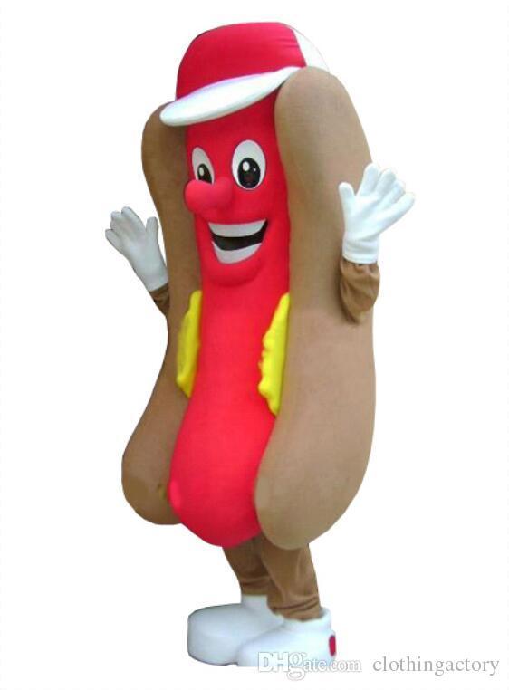 Compre 2018 Hot Dog Hotdog Mascote Disfraz Vestido De Lujo De Tamaño