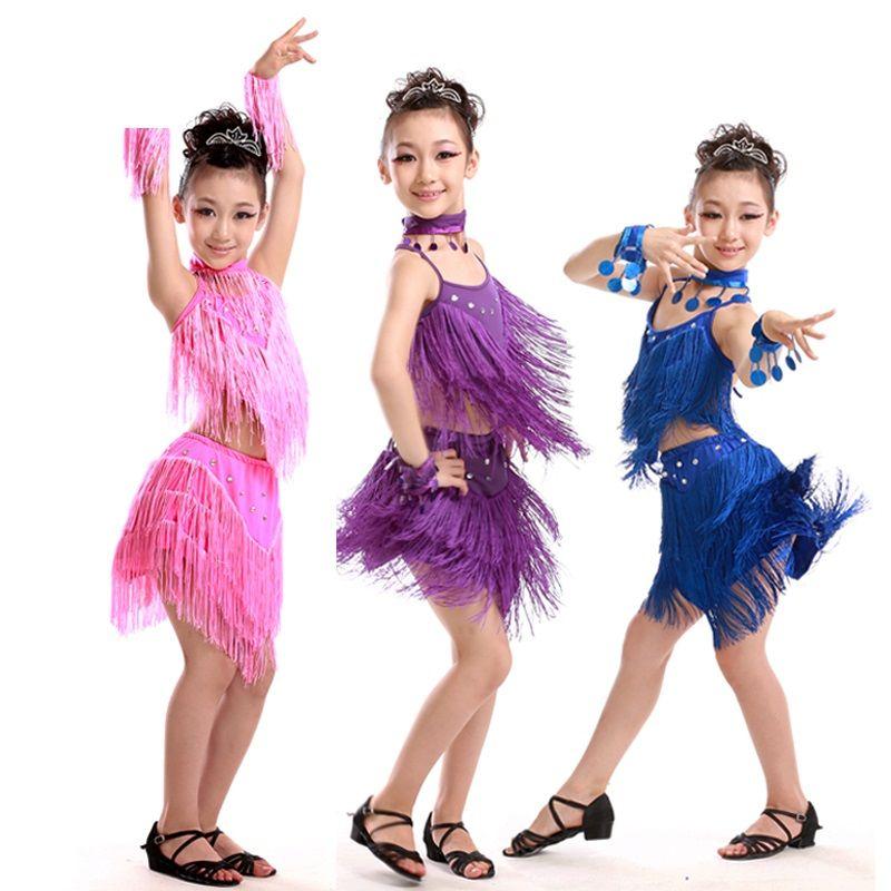 727fe739052e 2019 Child Girls Kids Cheap Sexy Pink Blue Red Sequin Fringe Salsa ...