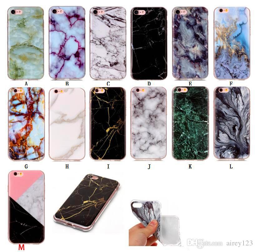 pretty nice 0ad79 71fb9 Soft TPU Cover Phone Casing Shell Marble Texture Case for iPhone X 6 6S 7 8  Plus Samsung Galaxy S6 S7 Edge S8