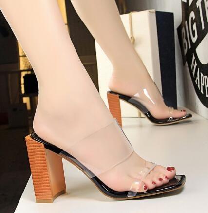 Sandalias En Punta Moda Alto Zapatos Transparente Abierta Pvc De Cuadrado Bloque 2018 Tacón Mulas Deslizamiento Mujer cTlJ1FK