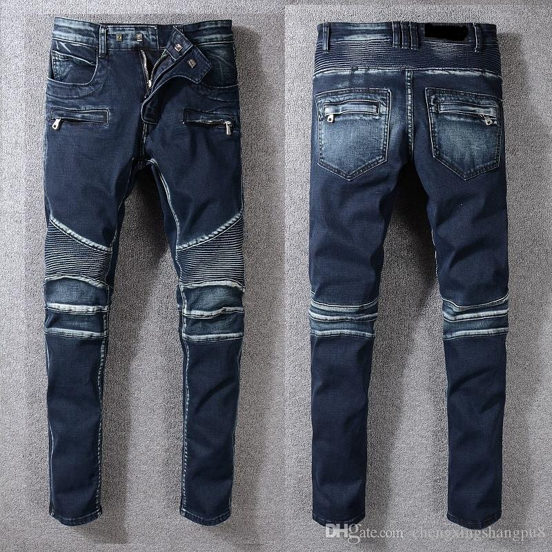 2019 2019 Fashion Brands Men Jeans Fine Pleated Cotton Blue Zippered