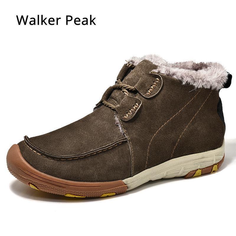 96c6775bdf Compre Mens Inverno Com Pele Quente Tornozelo Botas De Neve Para Homens  Sapatos De Couro Genuíno Calçado Masculino Moda De Borracha Walker Pico  Tênis De ...