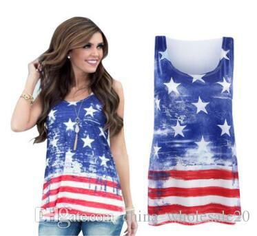ed63b598050 2019 Summer 4th July Independence Day Fashion Shirts Women Vest American  Flag Stripe Stars Tank Tops O Neck Sleeveless Blouses From  China wholesale20