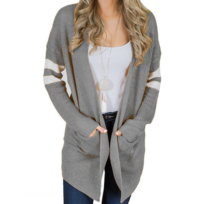 f281f57778 2018 Autumn Winter Striped Long Sleeve Cardigans Women Sweaters ...