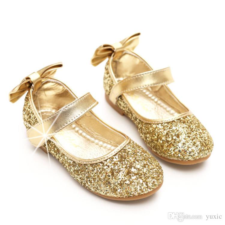 Kids Shoes for Girls Sequins Bowknot Princess Dancing Shoes ... e17cdf2cd834