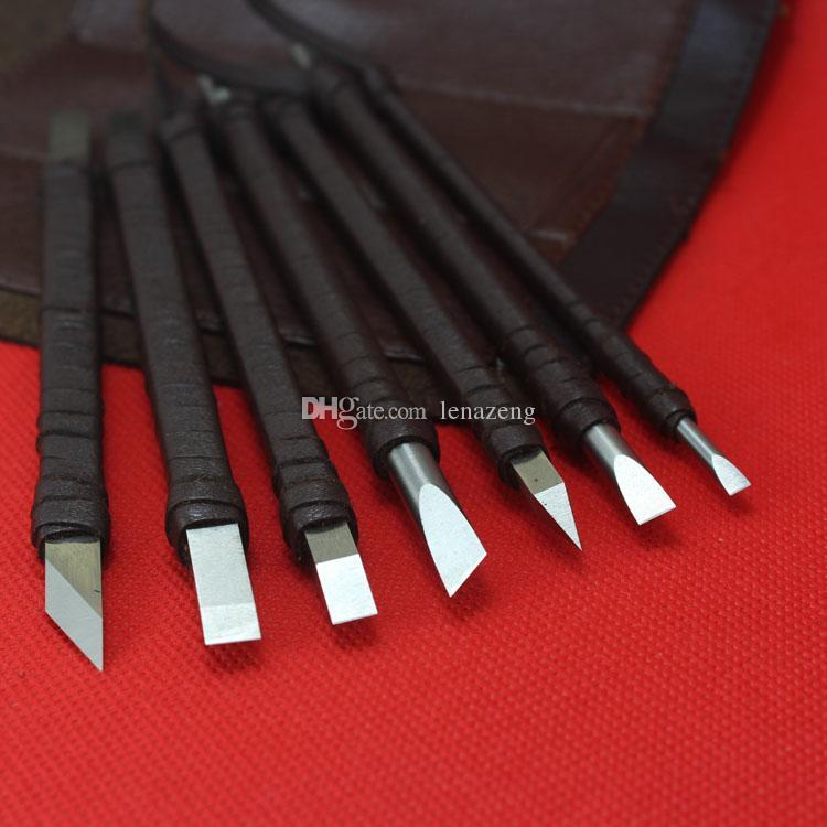 Juego de cincel tallado en piedra de 7 piezas, herramienta de cuchillos talladores de piedra de acero blanco hecho a mano