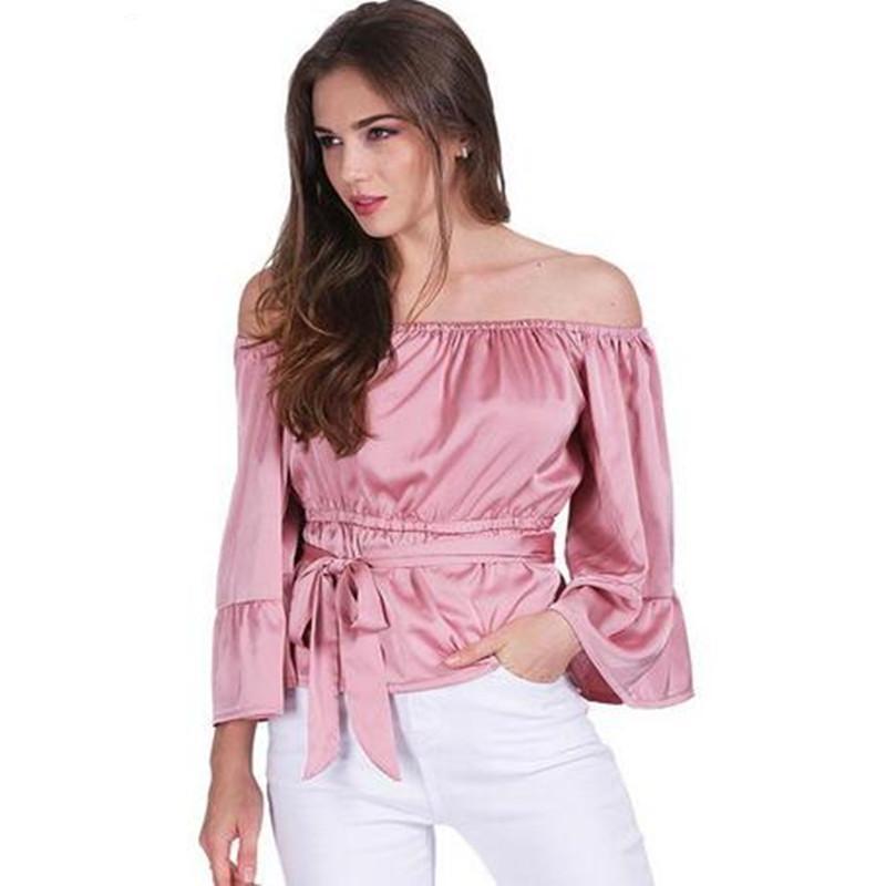 e1d9f226 Girls satin t-shirt summer women loose butterfly sleeves clothes 2018 new  fashion women's clothing thin waist slash neck