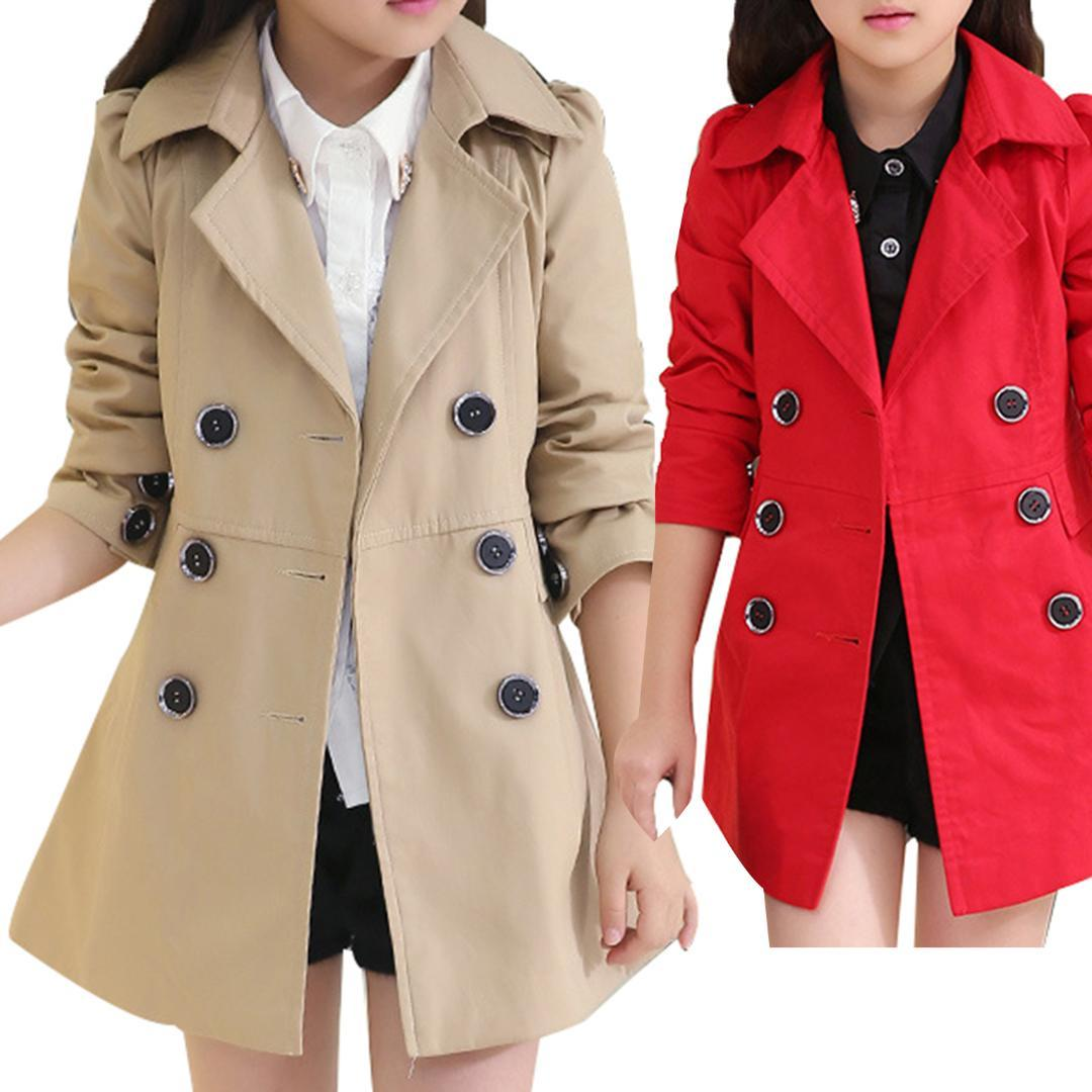 89b5f8cd9 High Quality Girl Child Kid Lapel Double Breasted Outwear Pea Trench ...