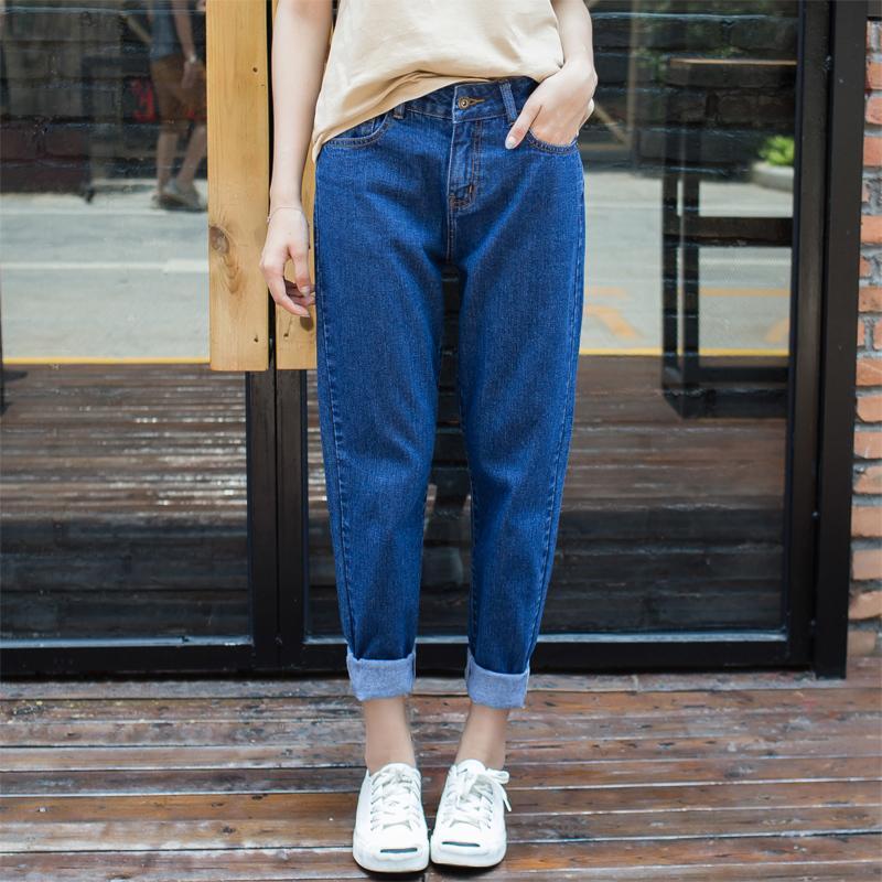 1e9482526951 Acheter Femmes Jeans À La Mode Casual Boyfriend Taille Haute Sarouel Taille  Foncée Bleu Loose Female Denim Baggy Jeans Plus SizeS914 De  25.11 Du  Ruiqi01 ...