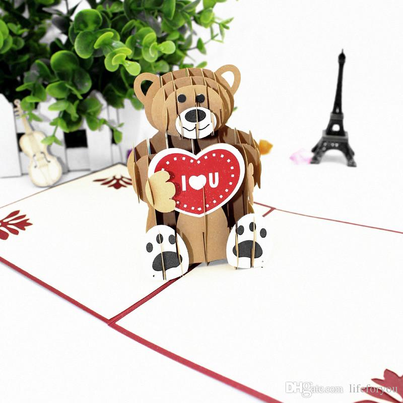 Teddy bear greeting cards birthday kids wedding gift cards i love teddy bear greeting cards birthday kids wedding gift cards i love you party decor lovers anniversary gift party favors 3d pop up cards birthday greeting m4hsunfo