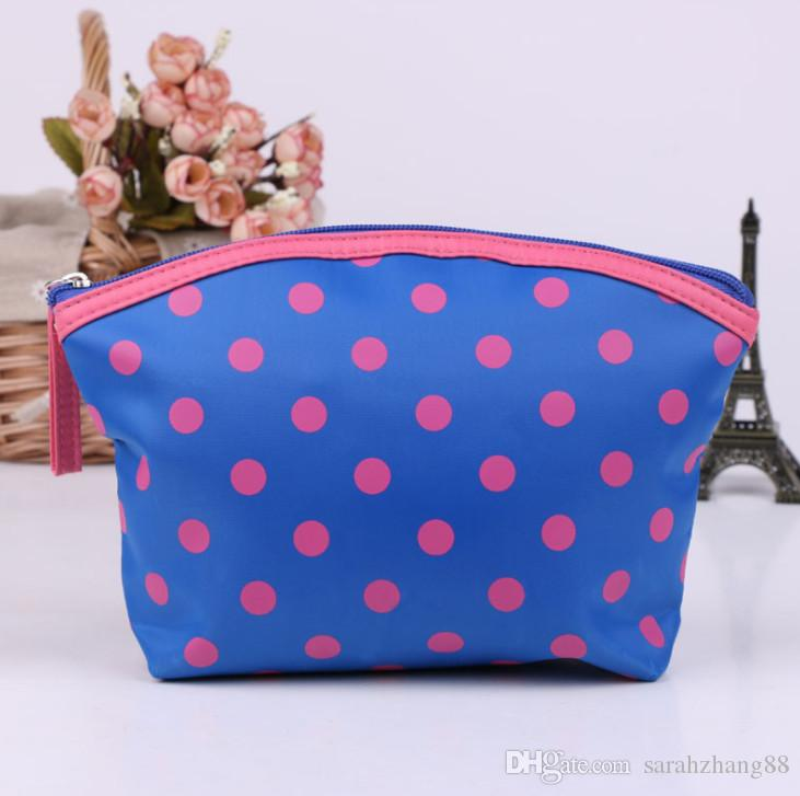 Polka Dots Print Kosmetik Kulturbeutel Tasche - Multifunktions-Reise-Organizer Make-up Tasche Handtasche mit Reißverschluss für Frauen Promotion!
