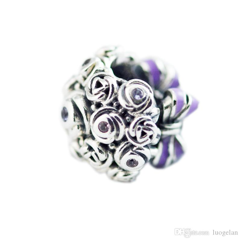 8943fed3e ... 2018-summer-925-sterling-silver-jewelry-celebration.jpg Authentic 925  Sterling Silver Bead Purple Enamel Celebration Bouquet Charm Fit Original  Pandora ...
