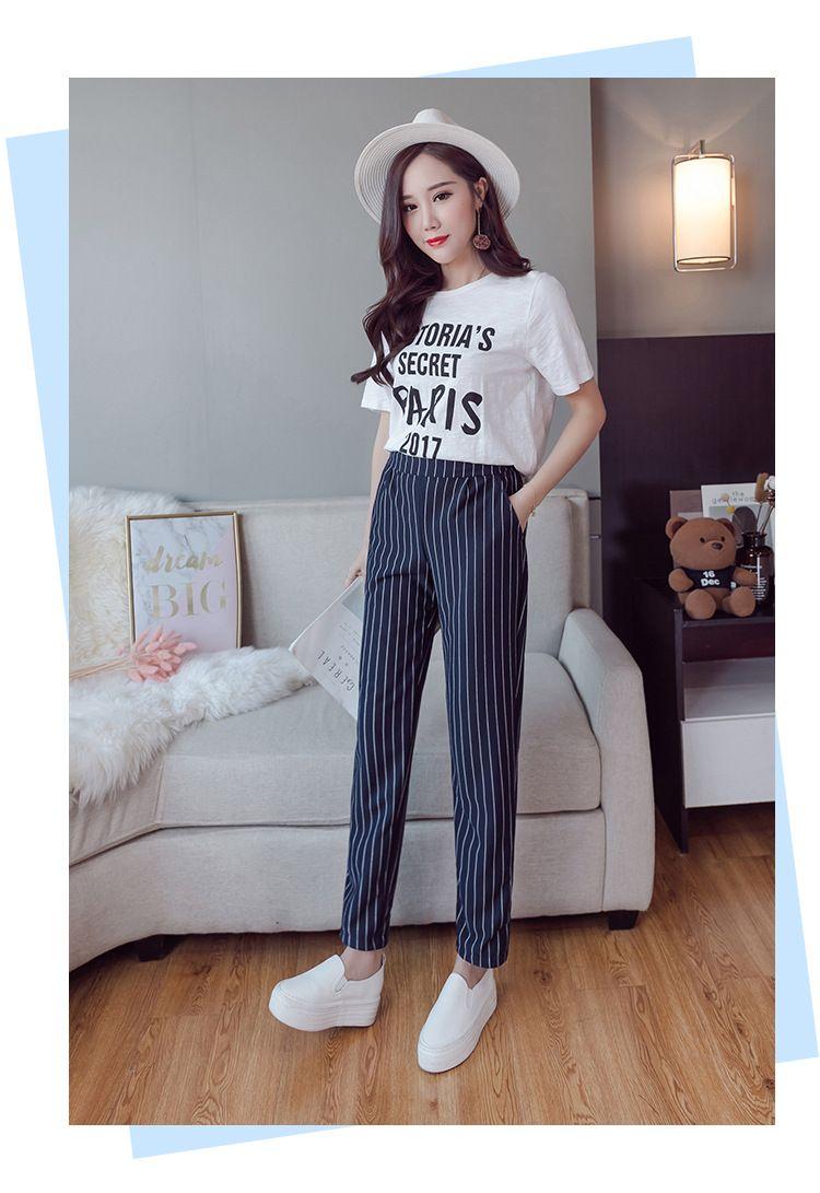 bb8617036a Compre Hasta El Tobillo Pantalones Harem 2018 Nueva Llegada Pantalones A  Rayas Estilo De Inglaterra Pantalón De Cintura Elástica Para Mujer Pantalón  De ...