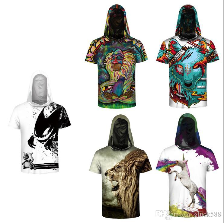 2018 Hot animal 3D digital print bottoming shirt Couple wear sports breathable short sleeve hooded T-shirt