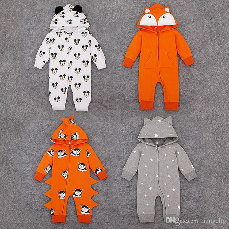 Baby Hooded Cartoon Rompers with Lovely Ears Zipper Boys Girls Jumpsuits Long Sleeve Pure Cotton Spring Autumn 12-24M