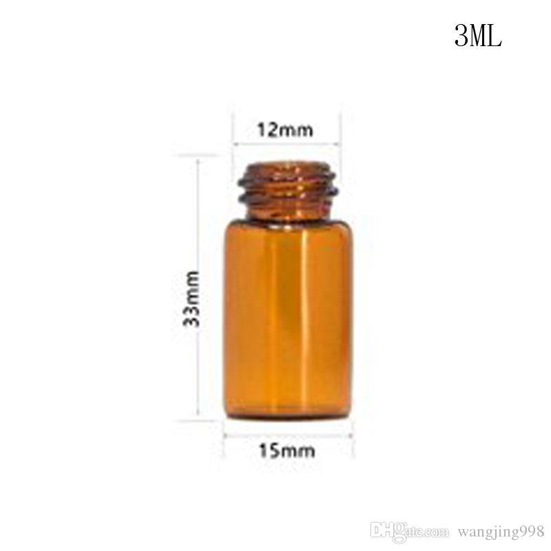 1000 Pz / lotto 1 ml / 2 ml / 3 ml / 5 ml Vuoto di Vetro Ambrato Bottiglia di Olio Essenziale Vial Jar con Orifice Reducer e Cap Cosmetici di Trucco del Contenitore del campione Bo