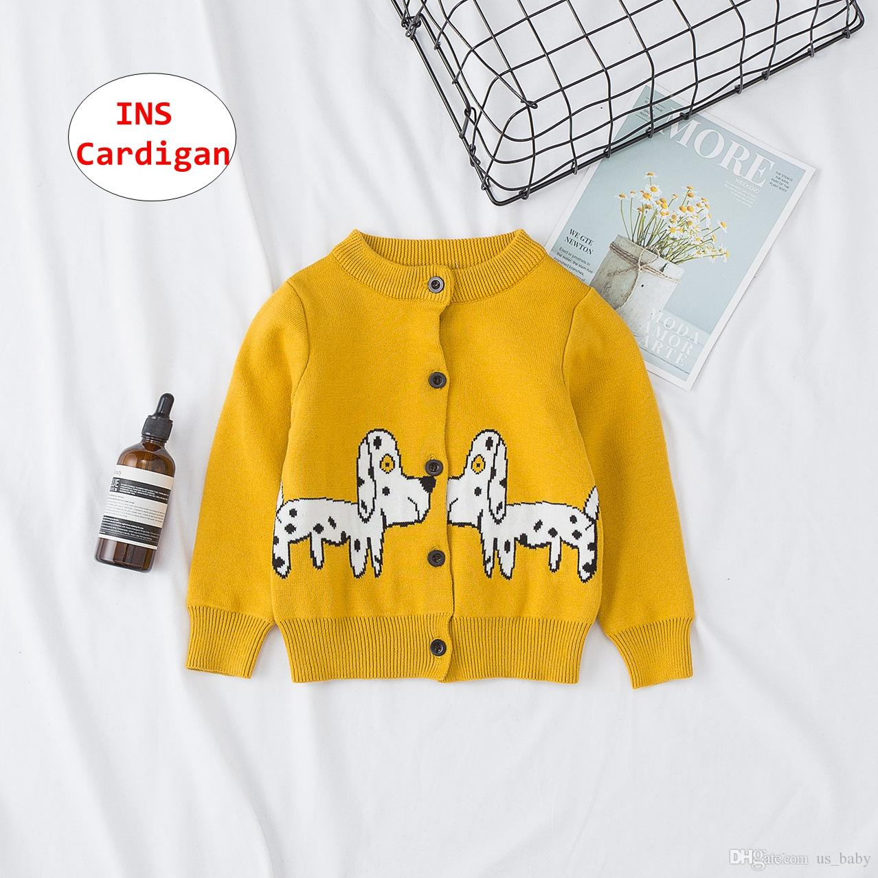 56d75b5d1e39 INS Baby Dog Print Cardigan Infant Yellow Long Sleeve Knitted Jacket ...