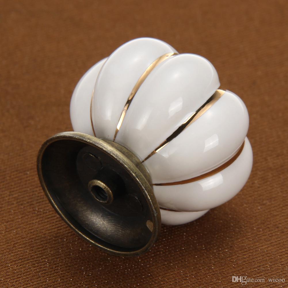 5 pçs / set Branco Móveis Do Vintage Lidar Com Abóbora De Cerâmica Maçanetas Puxadores de Móveis Gaveta Móveis Armário de Cozinha Pull Handle