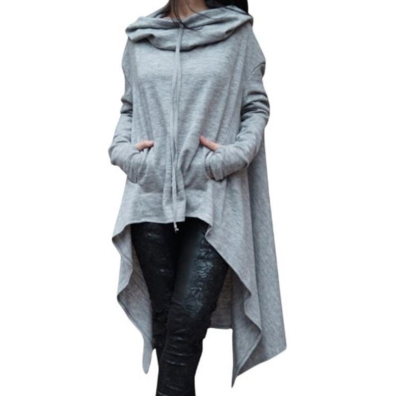 e9d0f165d3f 2017 Autumn New Hoodies Women Sweatshirt Front Short Lace Up Hoodie ...
