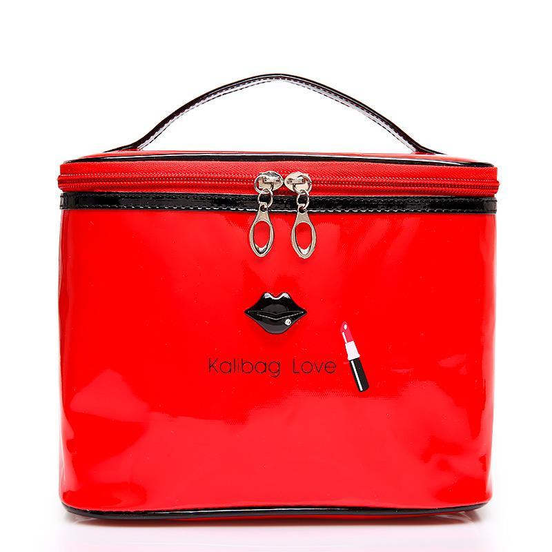 f0a31daa7946 2018 Fashion Women Makeup Bag Girl Cosmetic Case High Quality Leather Female  Korean Make Up Box Large Capacity Travel Wash Bag Cosmetic Brands Kosmetik  ...