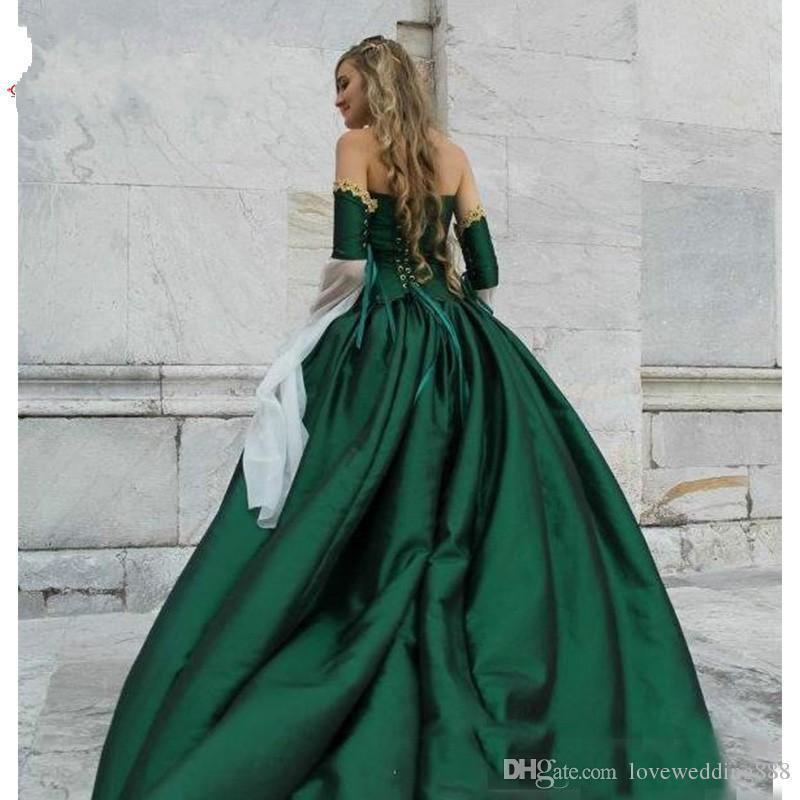 2018 Gorgeous Hunt Green Abiti da sposa gotici Halloween Vittoriano Abiti da sposa Maniche lunghe Piano lunghezza Corsetto Indietro Raso ricamo