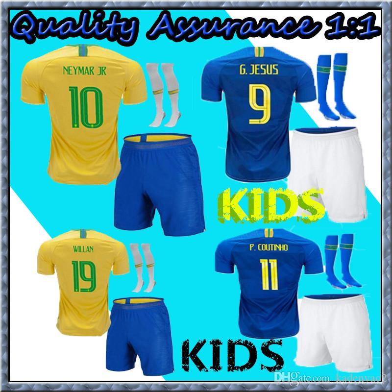 43fbd2f7db8 Kids 2018 New Brazil Soccer Jerseys Kits 18 19 Brasil G JESUS P COUTINHO  MARCELO FIRMINO World Cup Football Shirts Online with $16.96/Piece on  Kadenyao2's ...