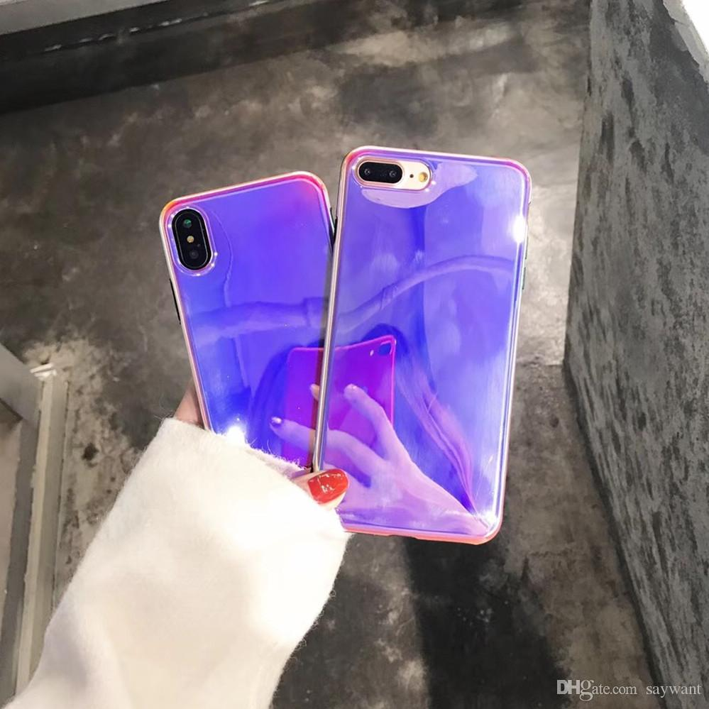 huge selection of 84eba 0b1b2 2018 Hot Selling Purple Laser Phone Case for iPhone X 8 7 6 Plus Fashion  Blu-ray Mirror Cellphone Soft Cases