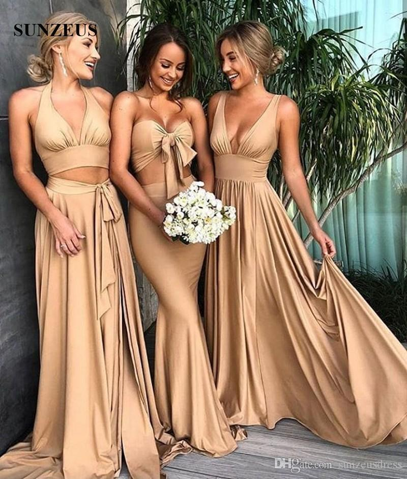 765cedc4278c5 Elegant V-neck Champagne Bridesmaid Dresses 2018 Simple Long Jersey Wedding  Party Gowns Sexy 3 Designs Available