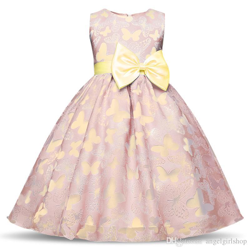 de8d15c75 Girl Birthday Dress Fancy Summer Butterfly Kids Girl Wedding Dresses ...