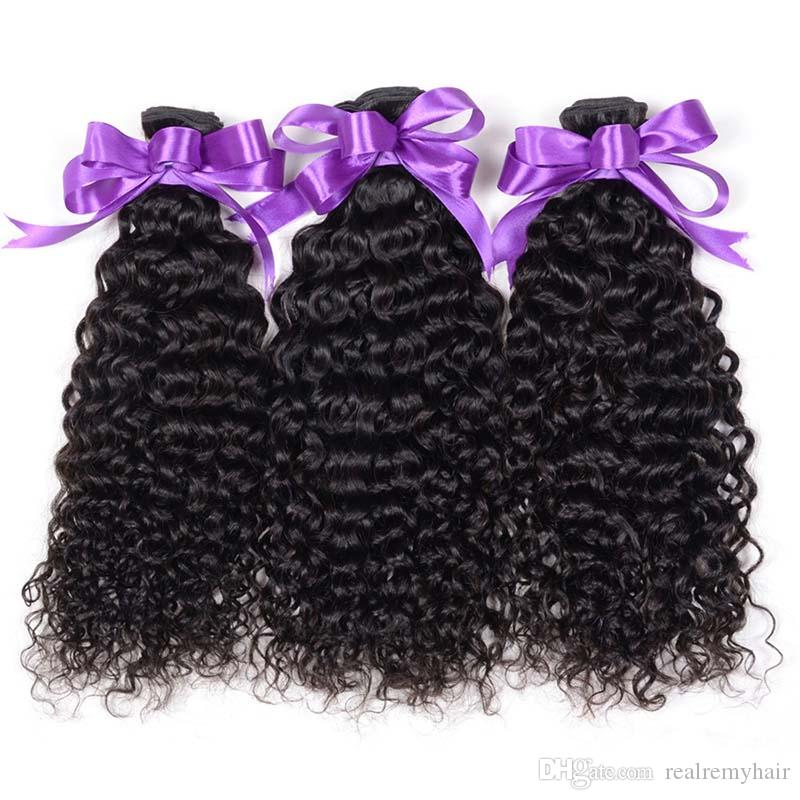Brazilian Kinky Curly Human Hair 3 Bundles With Closure Cheap Non Remy Virgin Human Hair Weave Extensions With Lace Closure