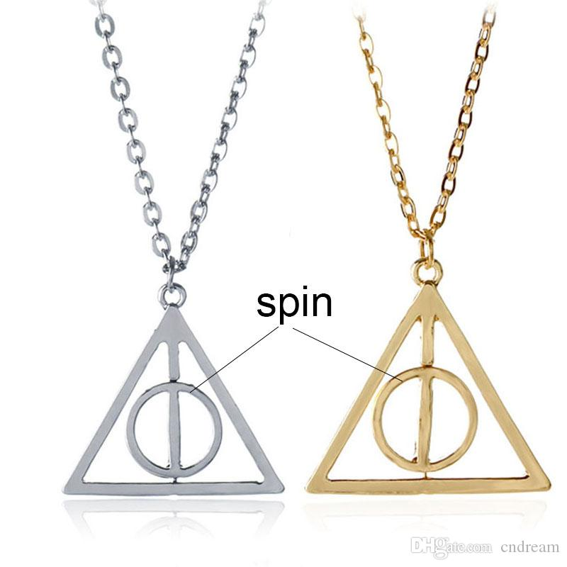 ec8ac4a0179c2 Harry Rotate Deathly Hallows Necklace Silver Gold Spin Triangle Pendant  Necklaces Potter Fashion Jewelry Will and Sandy Drop Shipping