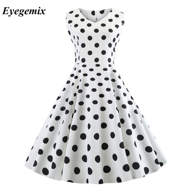 671448991cf4b Polka Dot Dress Women 2018 Robe Femme Vintage Big Swing V Neck 50s 60s  Rockabilly Summer Retro Party Dresses White Black Vestido Dresses For  Juniors White ...