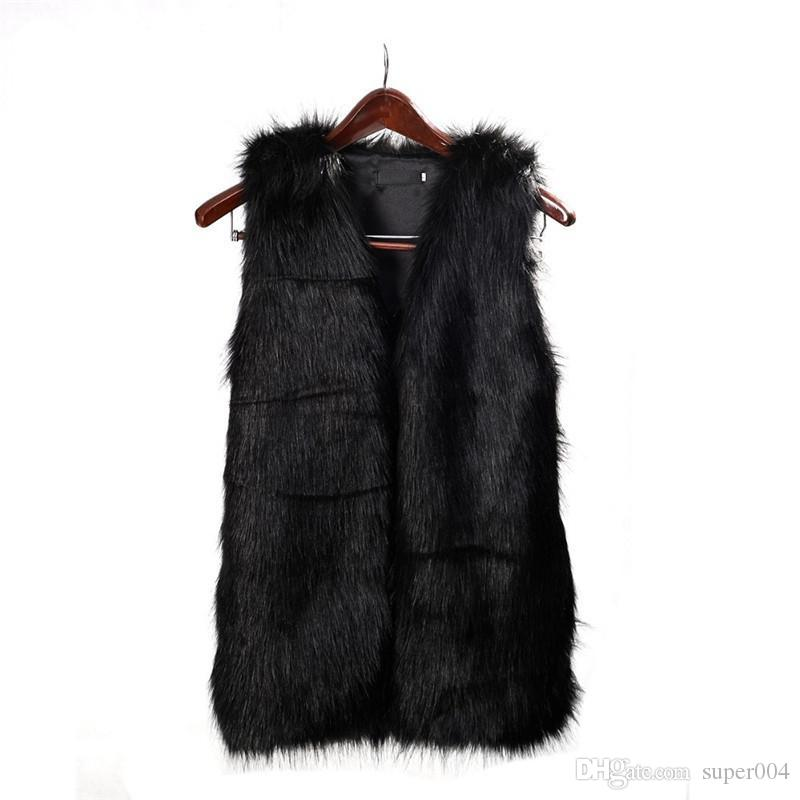 e2946eaeeed Women Brown Plus Size Faux Fur Vest Slim Long Coat Women XXL Gilet ...