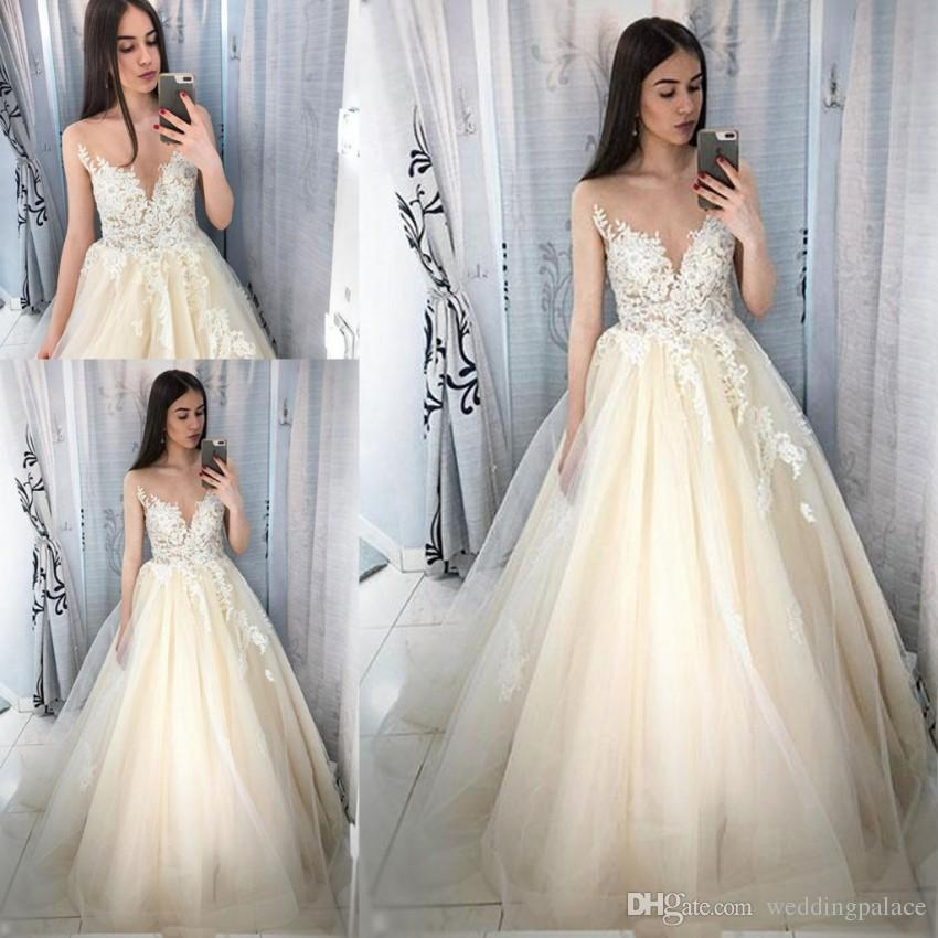 27dab10266a Discount 2018 Newest Design Simple Wedding Dresses Jewel Neck A Line Sweep  Train Lace Up Back Long Skirt Bridal Gowns Applique Wedding Gowns Wedding  Dress ...