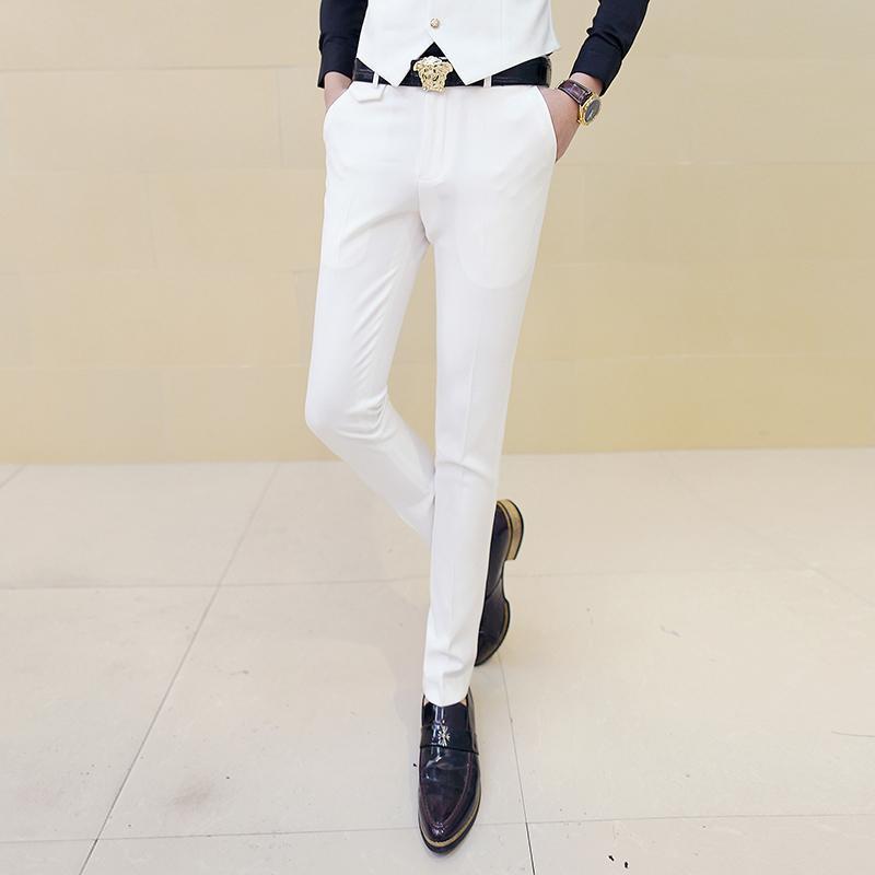 ad2b1ff37 Compre Pantalón De Vestir De Hombre Blanco Pantalones Pitillo Ajustados Para  Hombre Pantalón De Traje De Hombre Blanco Pantalón De Hombre Clásico  Desinger ...