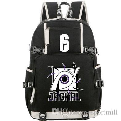 60fa56dc Jackal рюкзак Rainbow шесть мешок школьной школы Новая рука холст daypack 6  игра ноутбук школьная сумка Открытый рюкзак Sport day pack