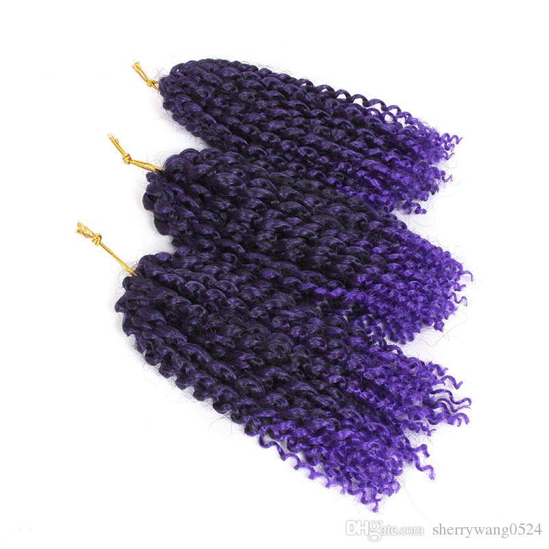 Bohemian Estilo Mali bob Kinky Twist Cabelo Sintético Jerry Encaracolado Crochet Trança Extensões de Cabelo 8 polegadas Ombre loiro # 613 Bug MaliBob 3 pçs / set