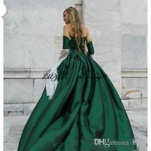 vintage emerald green Gothic Victorian Ball Gown Wedding Dresses 2018 off shoulder bell sleeve lace-upHalloween Cosplay Bridal Gowns