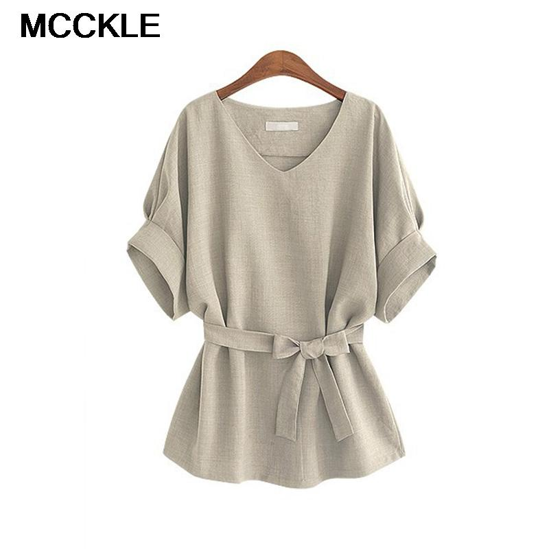 2ef82c7572d14 2019 White Linen Batwing Sleeve Bow Tie Tunic Women Shirt Solid V Neck  Loose Tops For Female Summer Autumn Woman S Blouse Plus Size From Seein