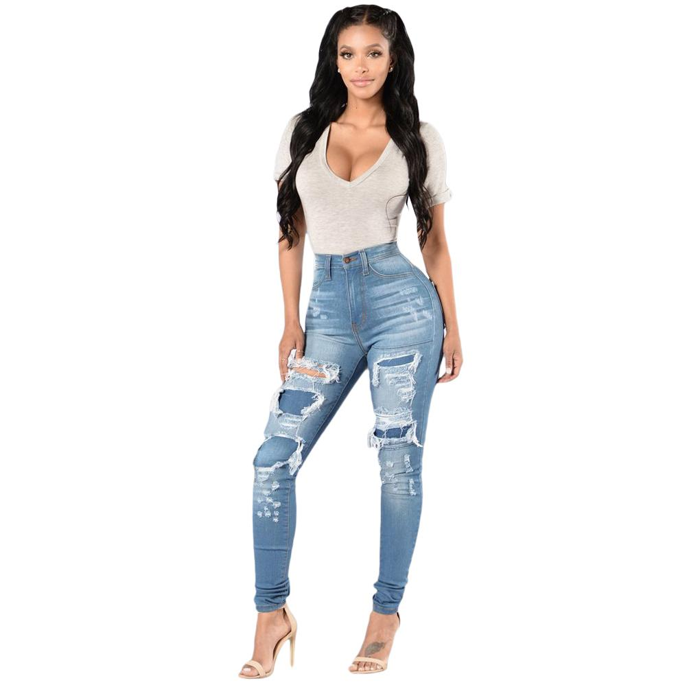 347c9d6b718148 2019 Plus Size Women Denim Skinny Jeans Washed Ripped Hole Pants Patch Mid  Waist Casual Pencil Slim Trousers Blue 3XL Boyfriend Jeans From Bibei07, ...