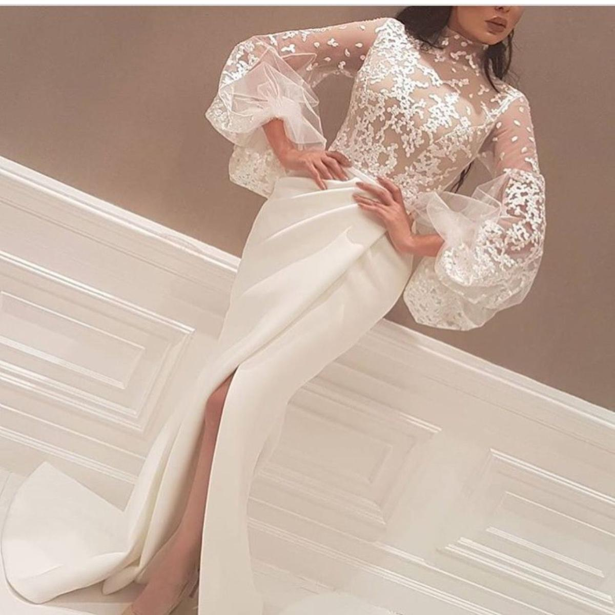 Long Arabic Evening Formal Dresses 2018 Mermaid Prom Dress High Neck Top  Illusion Lace Puff Sleeve Formal Party Dresses Evening Wear Runway Floor  Length ... 169beb6b2f35