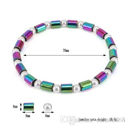 Hot Summer Coast Foot Chain Healthy Anklet Bracelet Colorful Magnetic Beads Hematite White Pearl Charm Anklet for Women