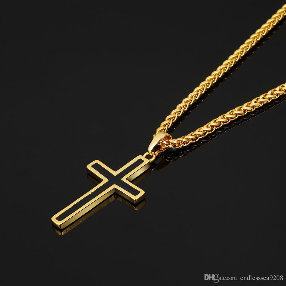 Collane pendenti di Christian Christian Croce collane gioielli religiosi 18 carati placcato oro / acciaio inossidabile croce gioielli moda accessori regalo perfetto