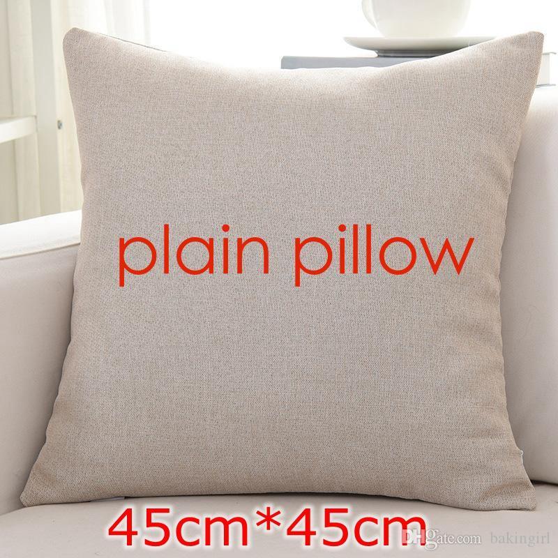 Diy New Plain Flaxen Color Blank Linen Cushion Cover Blank Pillow