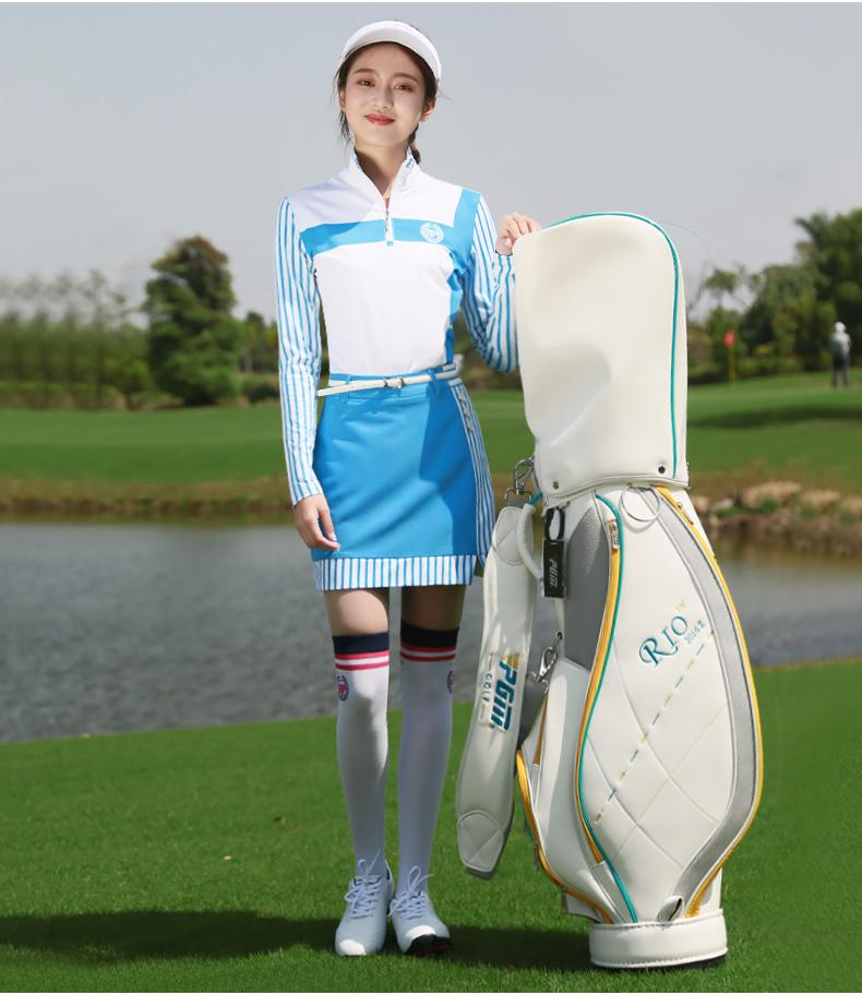 PGM Ladies Vertical Striped Long Sleeve slim Golf T-Shirt Spring Summer Women Milk Silk Fabric Breathable quick dry Golf Shirts