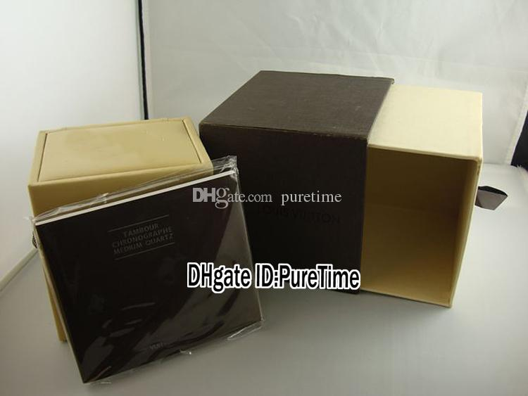 Hight Quality New Brown Watch Box Wholesale Mens Womens Watch Original Watches Box Certificate Card Gift Paper Bags LUBOX Puretime Cheap