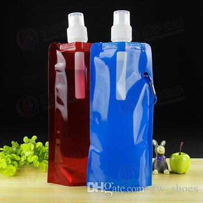 Cheapest!!! outdoor Collapsible Reusable Water Bottle with Carabiner Clip Foldable Drinking bottle Collapsible Canteen custom logo