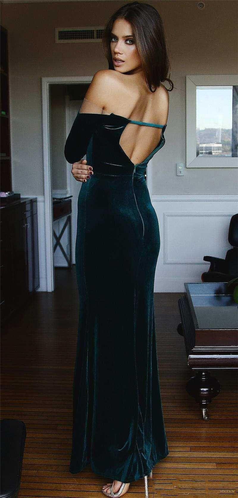 2018 Moda Sexy Scollatura a maniche lunghe Mermaid Prom Dresse Split Side velluto abiti da sera formale Backless Party Wear