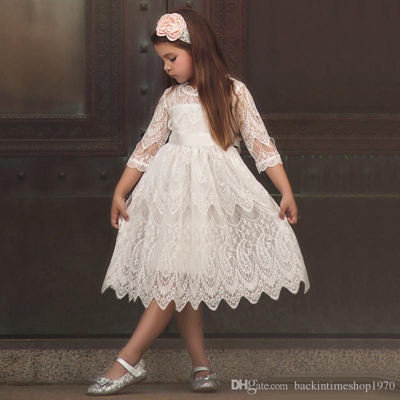INS Summer Baby Girls Crochet full Lace princess Dresses Baby big bow Princess tutu Dress Kids Girl Wedding Party Dress Kids Clothing